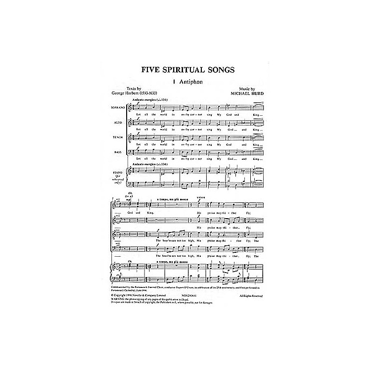 Novello Five Spiritual Songs SATB Composed by Michael Hurd