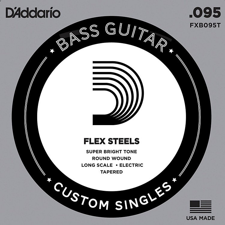 D'Addario FlexSteel Long Scale Tapered Single Bass Guitar String (.095)