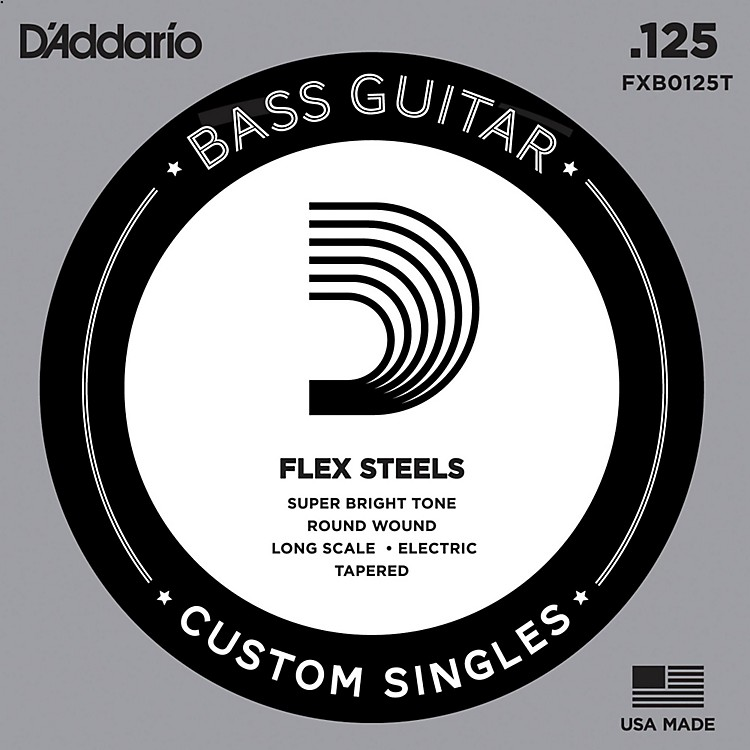 D'Addario FlexSteel Long Scale Tapered Single Bass Guitar String (.125)