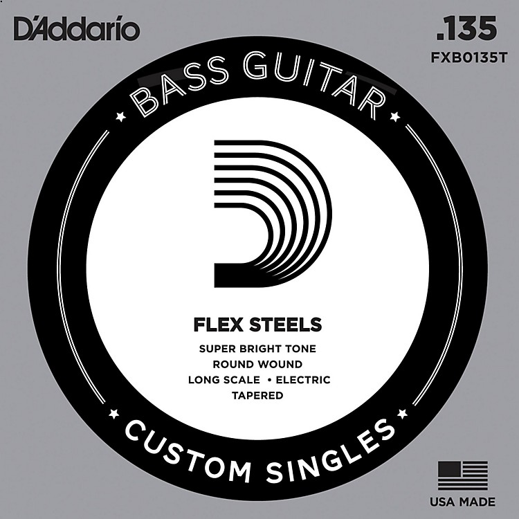 D'Addario FlexSteel Long Scale Tapered Single Bass Guitar String (.135)