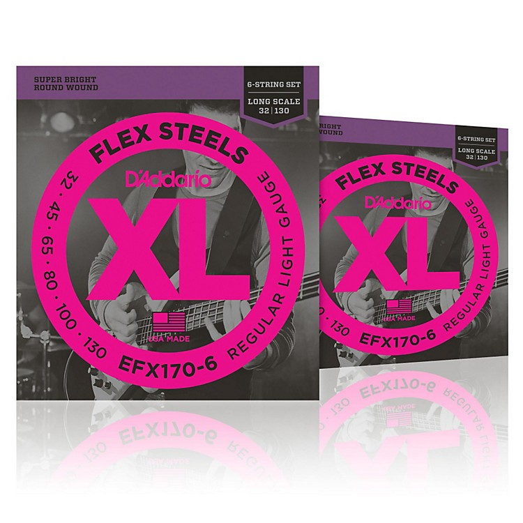 D'AddarioFlexSteels Long Scale Bass Strings (32-130) 6-String - 2-Pack