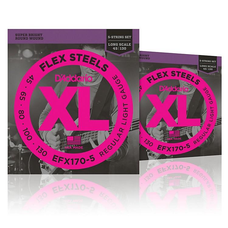 D'AddarioFlexSteels Long Scale Bass Strings (45-130) 5-String - 2-Pack