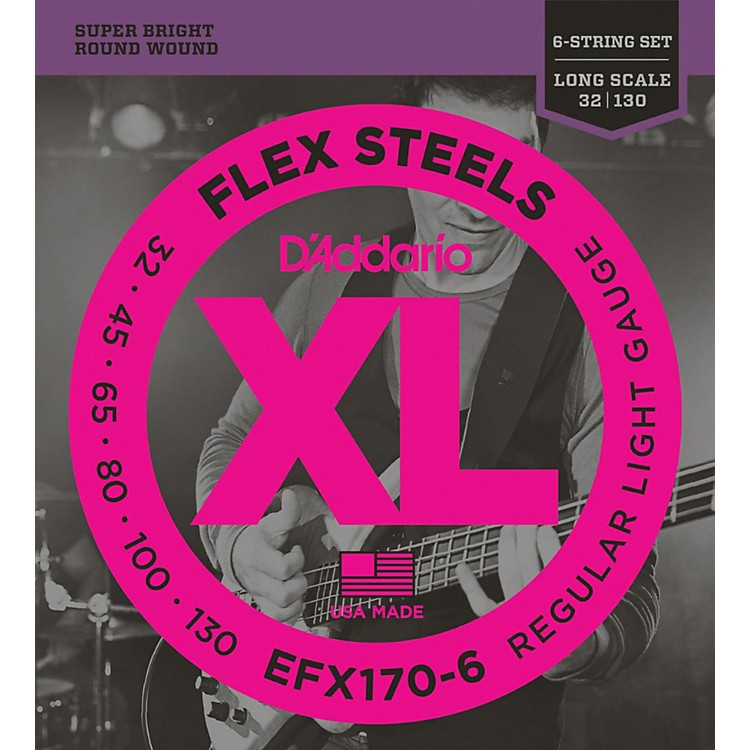 D'Addario Flexsteels Long Scale 6-String Bass Guitar Strings (32-130)
