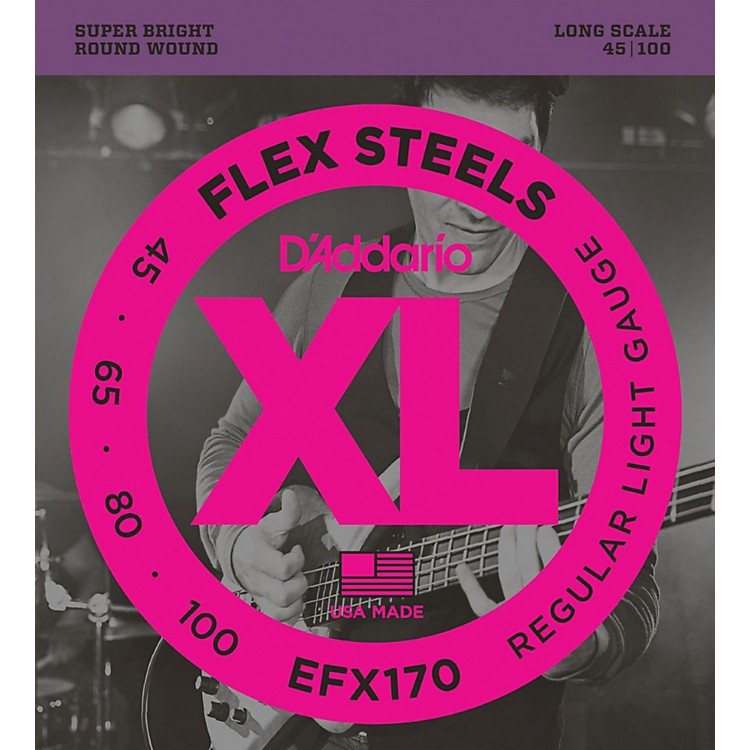 D'Addario Flexsteels Long Scale Bass Guitar Strings (45-100)