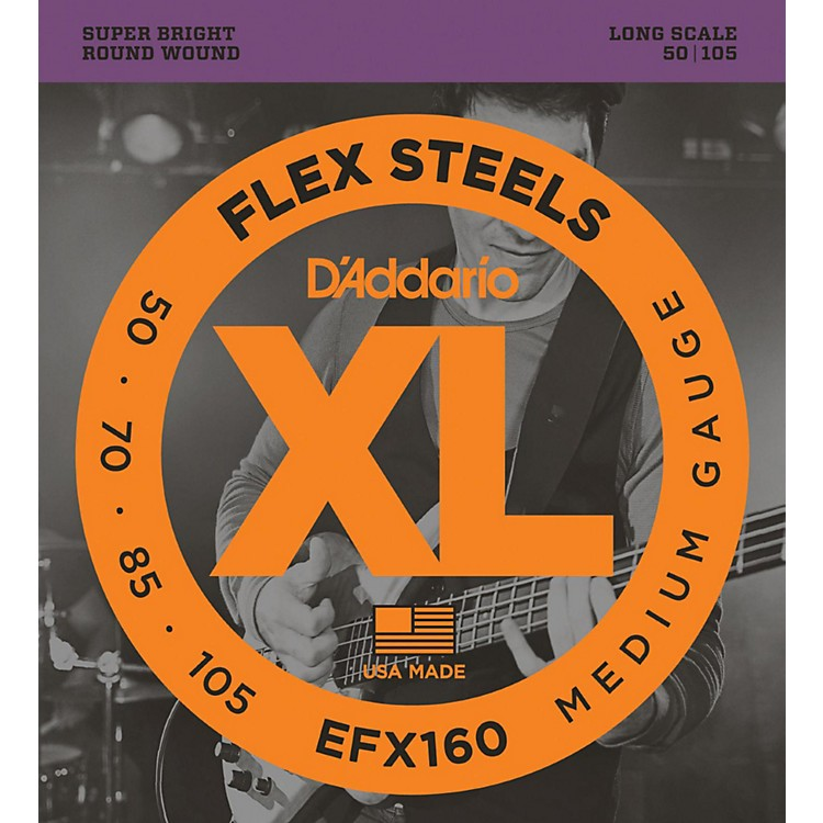 D'Addario Flexsteels Long Scale Bass Guitar Strings (50-105)