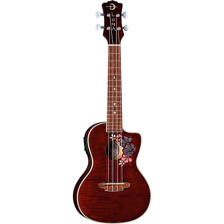 Luna GuitarsFlora Concert UkuleleTransparent Purple Flame Maple