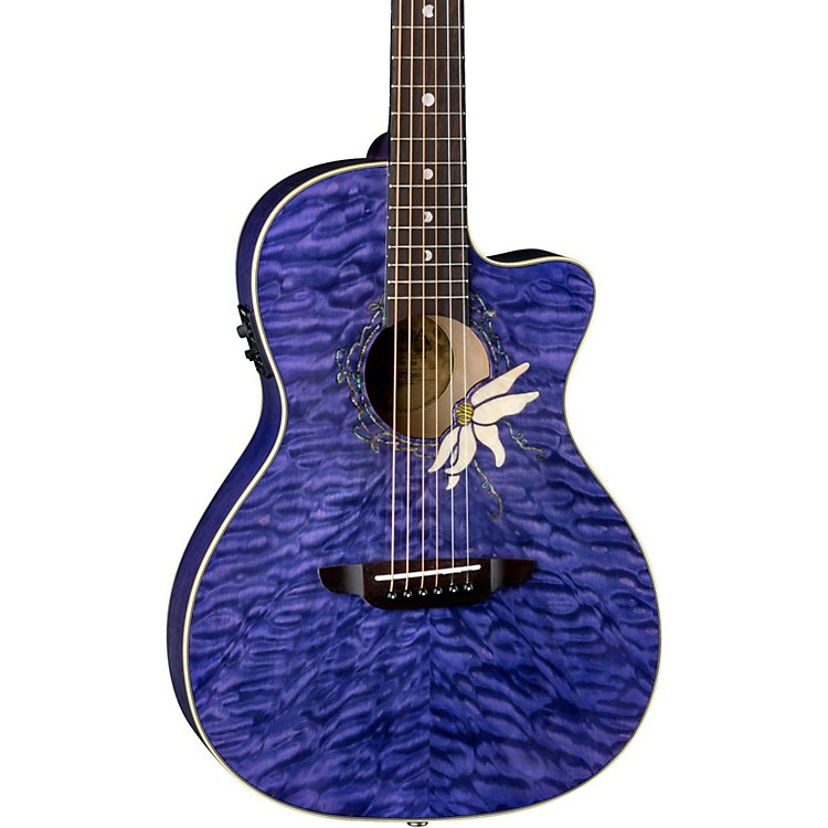 Luna Guitars Flora Passion Flower Quilt Maple Parlor Acoustic-Electric Guitar Transparent Purple