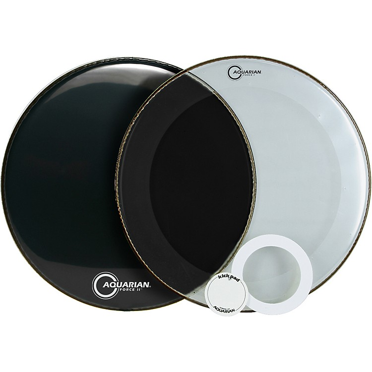 Aquarian Force Series Bass Drum Head Pak Black 22 in.