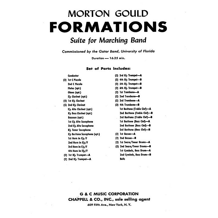 G. SchirmerFormations (Score and Parts) Concert Band Composed by Morton Gould