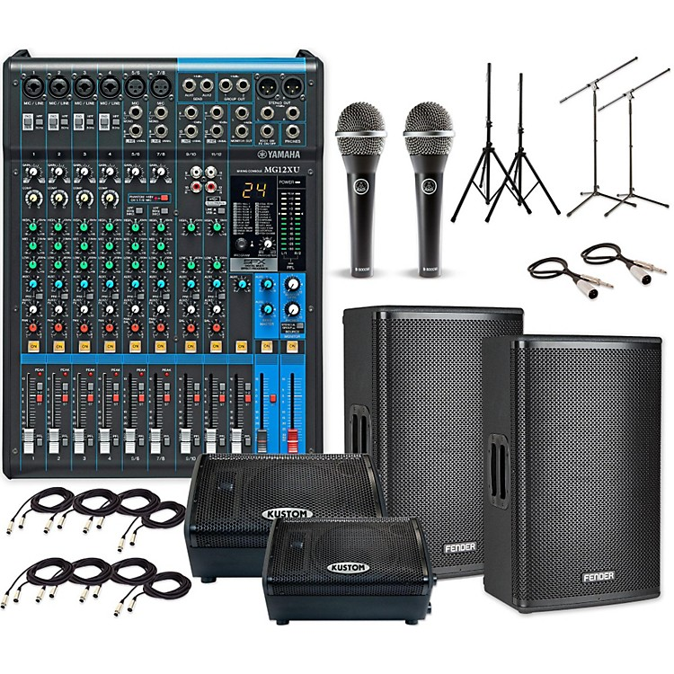 FenderFortis F-12BT with MG12XU & KPX110PM Mains and Monitors PA System