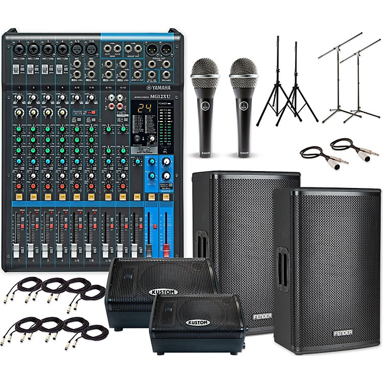 FenderFortis F-15BT with MG12XU & KPX110PM Mains and Monitors PA System