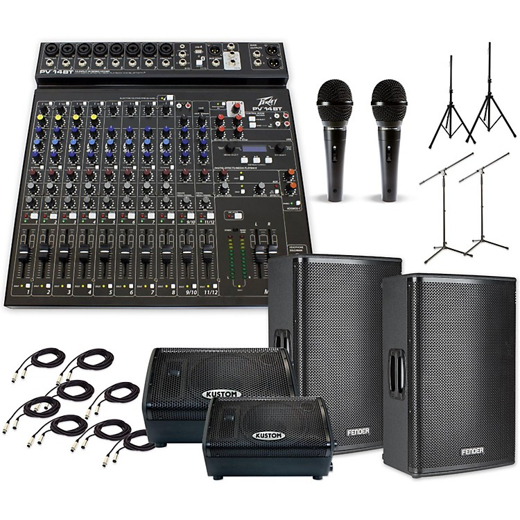 FenderFortis F-15BT with PV14BT & KPX110PM Mains and Monitors PA System