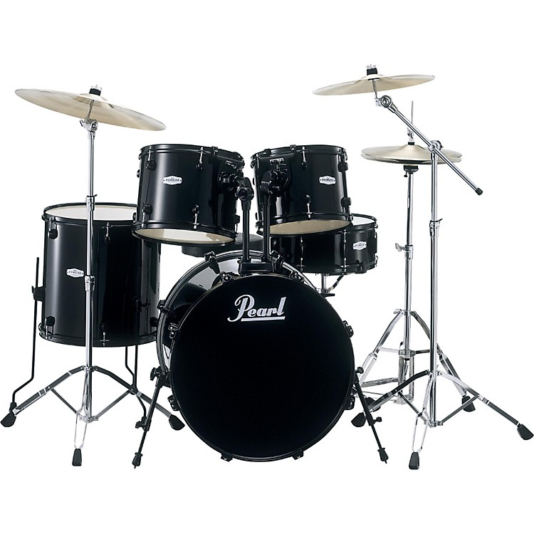 Pearl Forum 5-Piece Drum Set with Meinl Cymbals and SP Hardware Black with Black Hardware