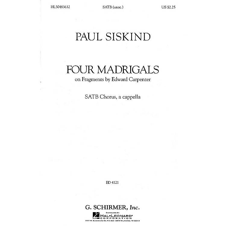 G. SchirmerFour Madrigals (SSAATTBB a cappella) SATB DV A Cappella composed by Paul Siskind
