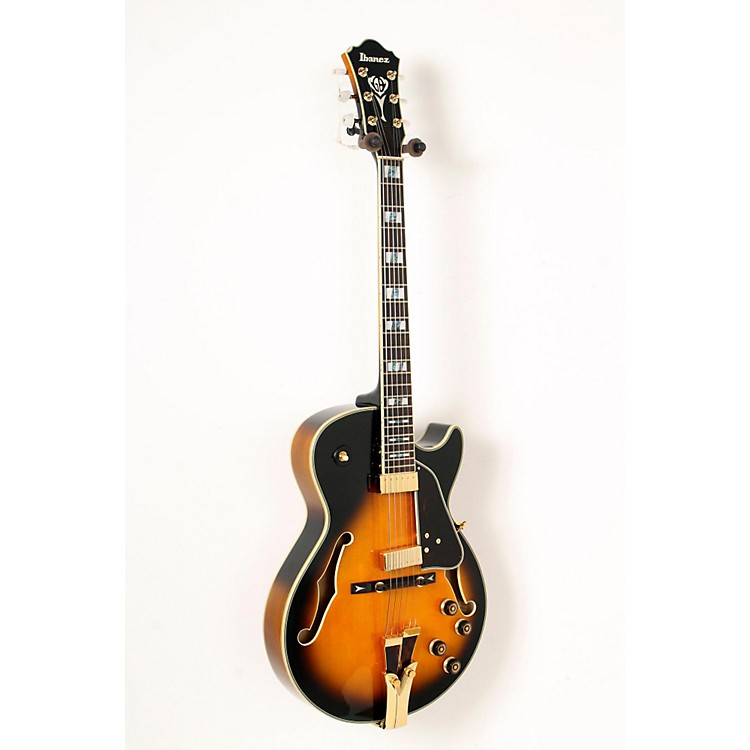 Ibanez GB Series GB10SE George Benson Signature Hollow Body Electric Guitar Brown Sunburst, Tortoise Pickguard 888365833279