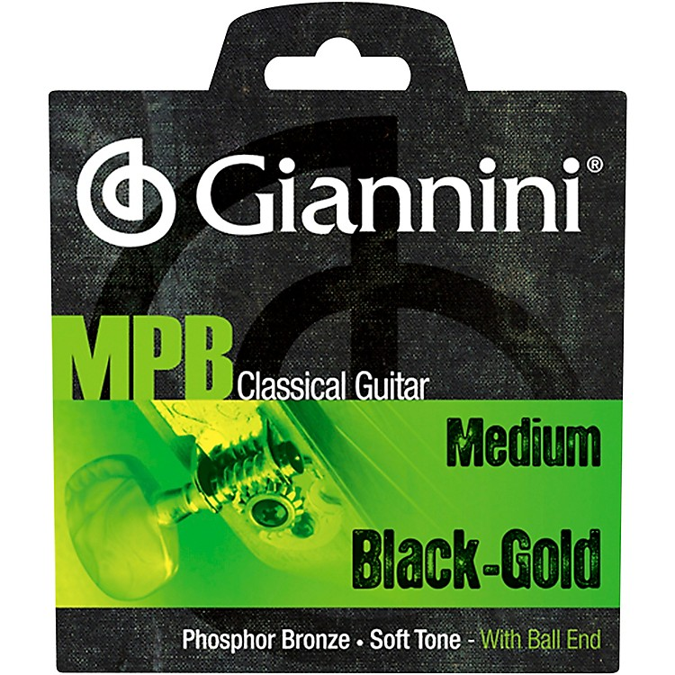 GianniniGENWBG Classical Guitar Medium Tension Phosphor Bronze Black Nylon Ball End Strings