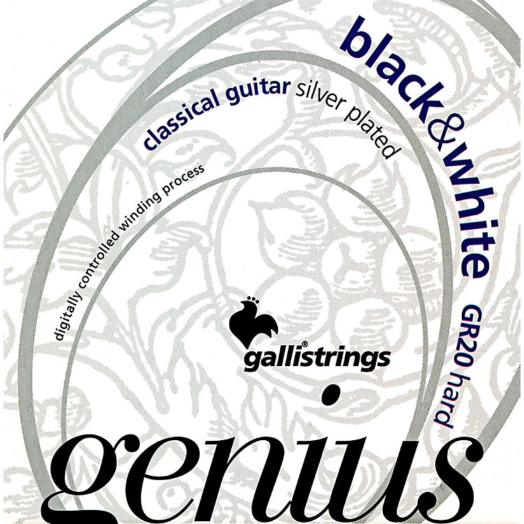 Galli StringsGR20 GENIUS Black And White Coated Silverplated Hard Tension Classical Acoustic Guitar Strings