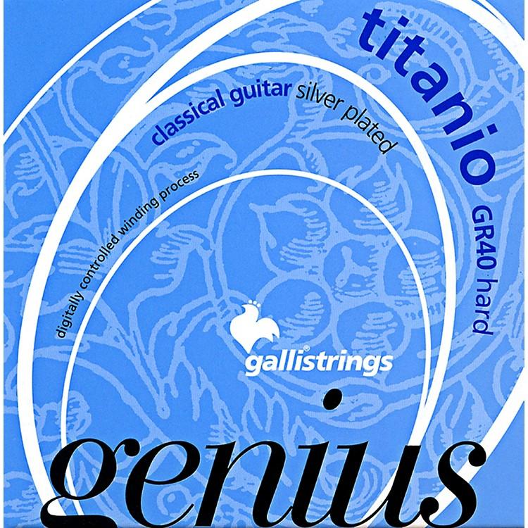 Galli StringsGR40 Genius Titanio Nylon Coated Silverplated Hard Tension Classical Acoustic Guitar Strings