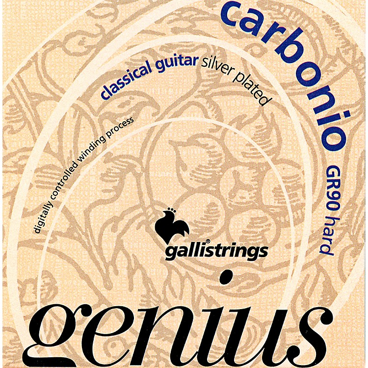 Galli Strings GR90 GENIUS CARBONIO Nylon Coated Silverplated Hard Tension Classical Acoustic Guitar Strings