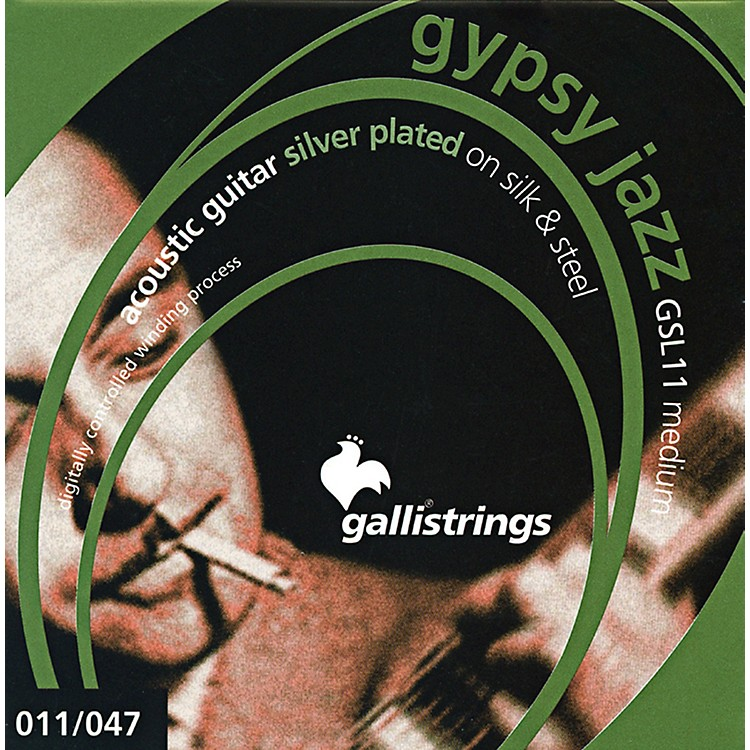 Galli Strings GSL11 GYPSY JAZZ Silver Plated Silk And Steel Medium Acoustic Guitar Strings