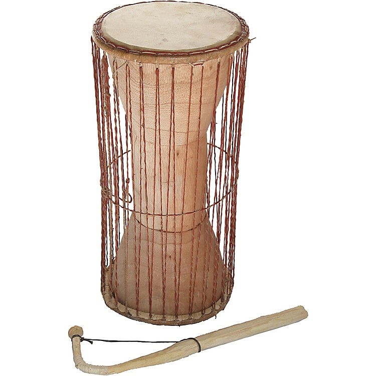 Overseas Connection Ghana Talking Drum with Stick Natural 19x8 in.