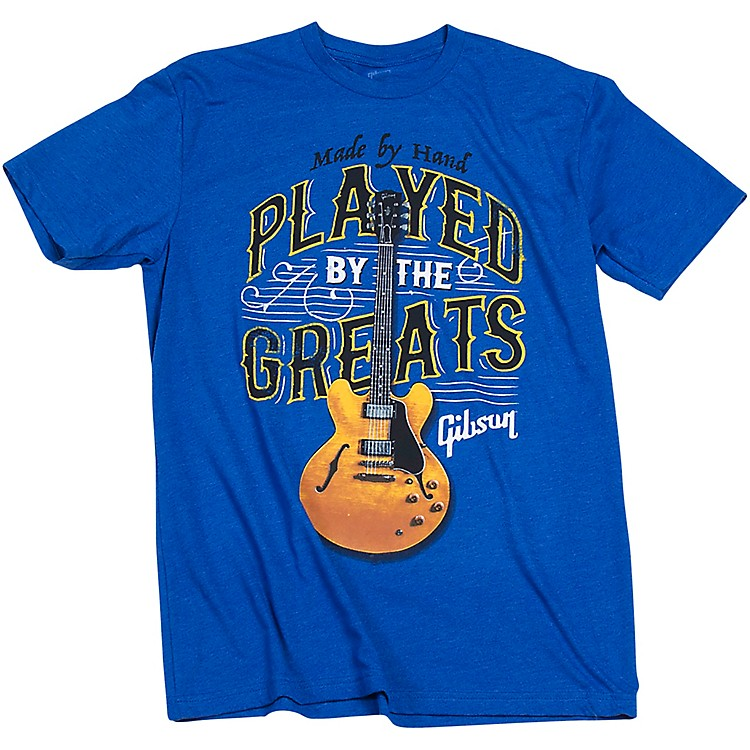 Gibson Gibson Played By The Greats Vintage T-Shirt Small Bright Royal Blue