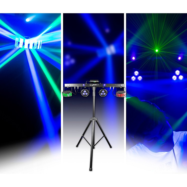 CHAUVET DJ GigBAR 2 4-in-1 LED Lighting System With 2 LED Derbys, LED Wash Light, Laser and 4 LED Strobe Lights