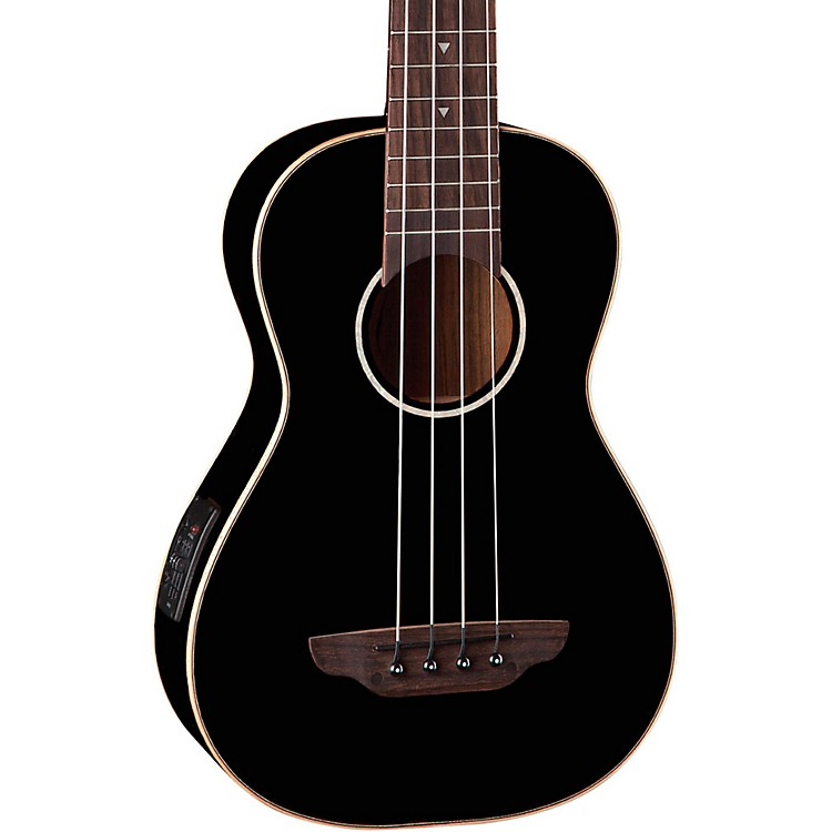 Luna Guitars Gloss Black Ukulele Acoustic-Electric Bass Black