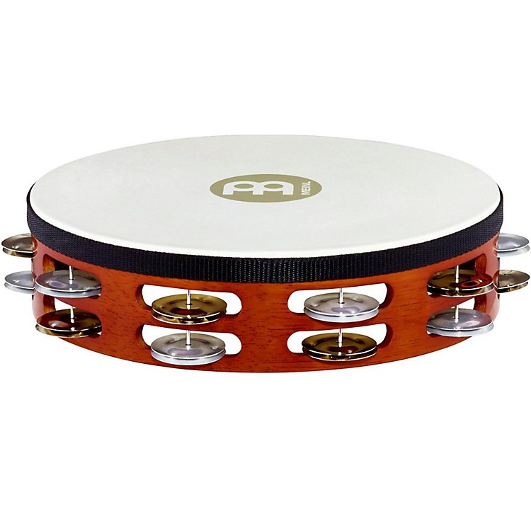 Meinl Goat-Skin Wood Tambourine Dual Rows of Alloy Jingles African Brown