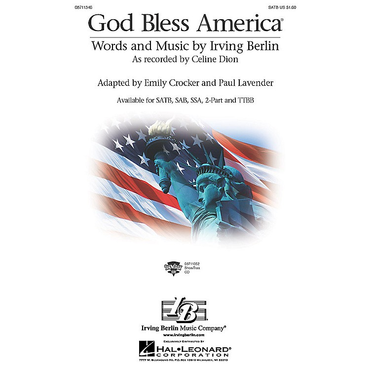 Hal Leonard God Bless America ShowTrax CD by Celine Dion Arranged by Paul Lavender