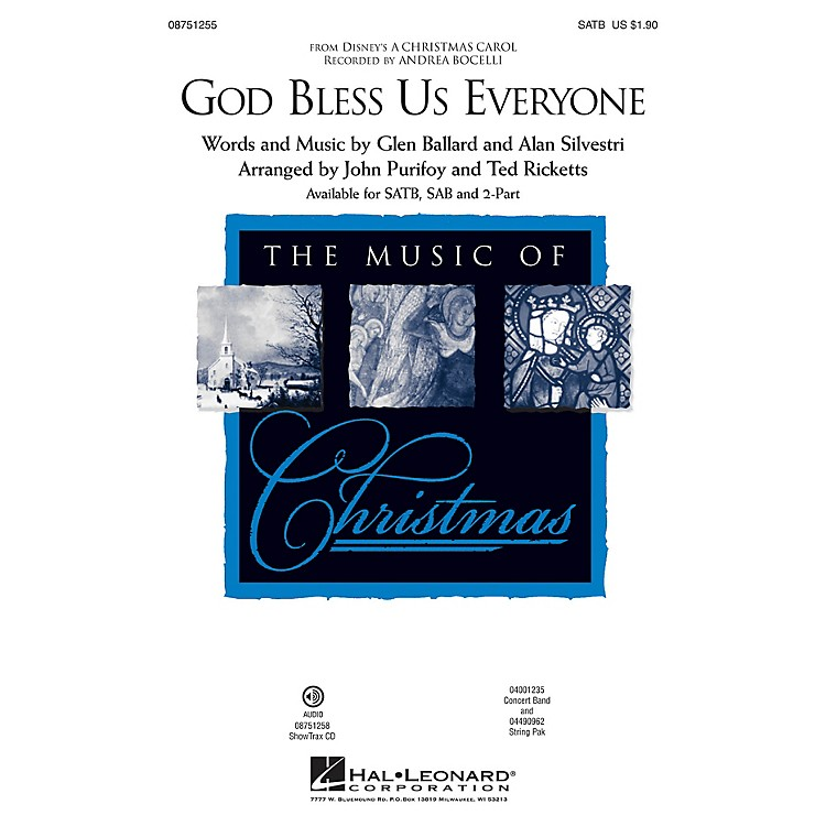 Hal LeonardGod Bless Us Everyone (from Disney's A Christmas Carol) SAB by Andrea Bocelli Arranged by Ted Ricketts