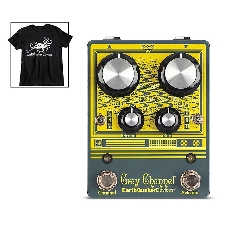 EarthQuaker DevicesGray Channel Dynamic Dirt Doubler Overdrive Effects Pedal and Octoskull T-Shirt Large Black