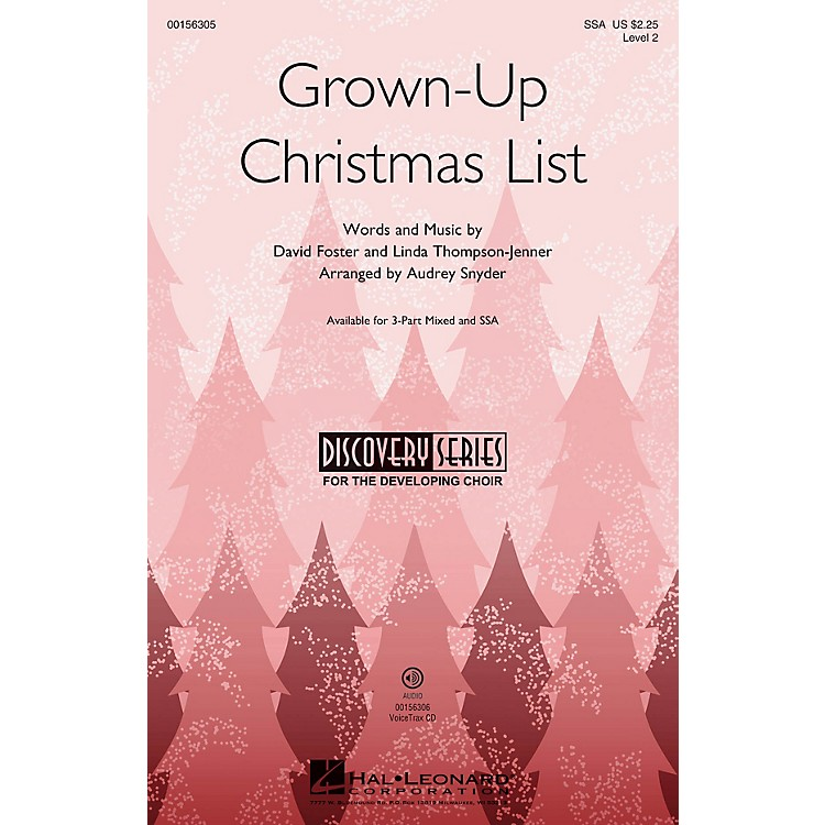 Hal LeonardGrown-Up Christmas List (Discovery Level 2) SSA arranged by Audrey Snyder
