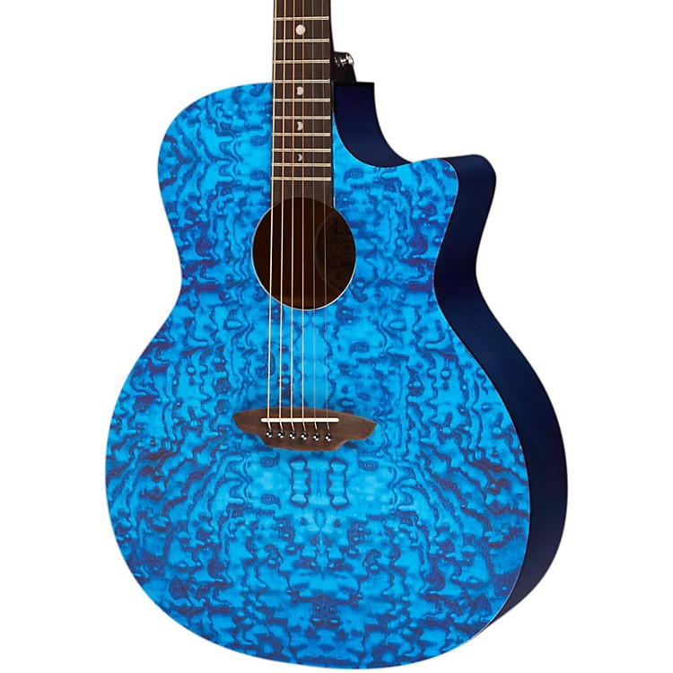 Luna Guitars Gypsy Acoustic Guitar Transparent Blue Quilt