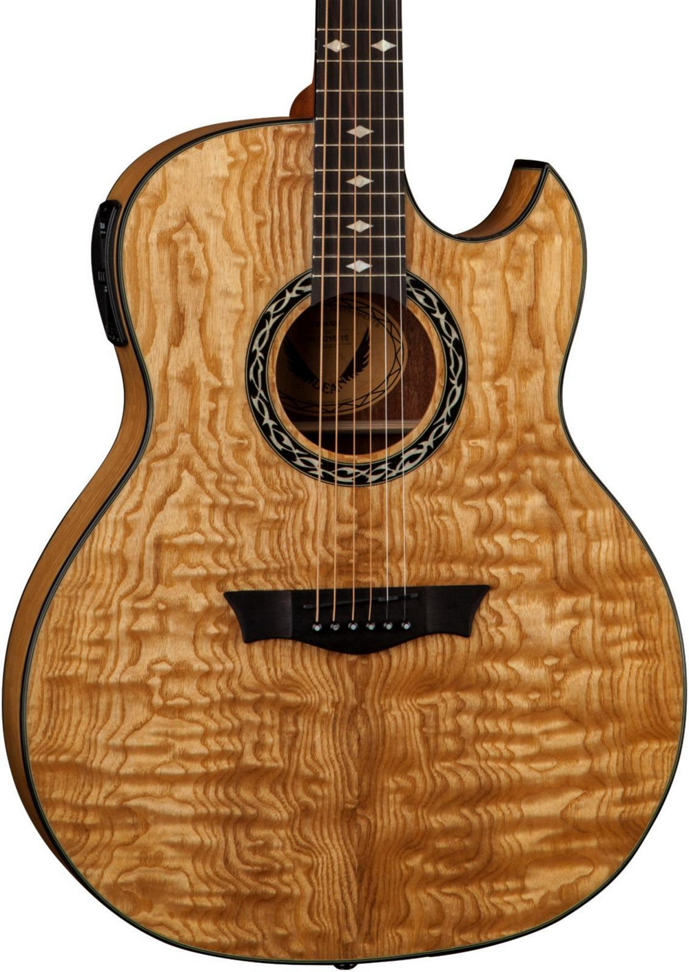 dean exhibition quilt ash acoustic electric guitar with aphex gloss natural 819998123710 ebay. Black Bedroom Furniture Sets. Home Design Ideas