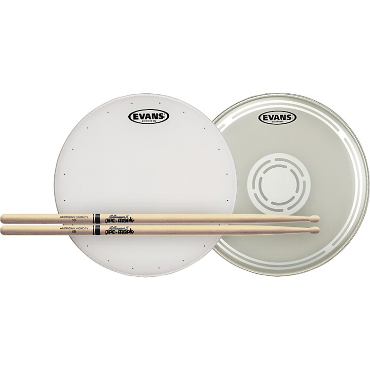 evans hd dry snare batter and snare side head pack with free pair of pro mark sticks music123. Black Bedroom Furniture Sets. Home Design Ideas