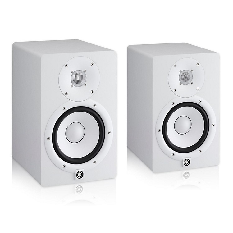 Yamaha hs7 white powered studio monitor pair music123 for Yamaha powered monitor speakers