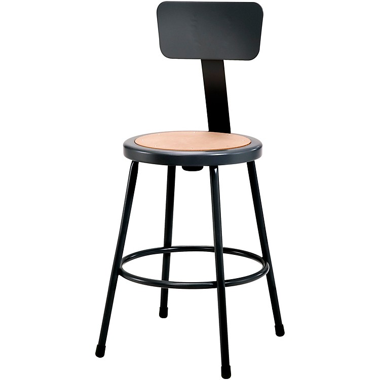 National Public Seating Heavy Duty Steel Stool With Backrest 24
