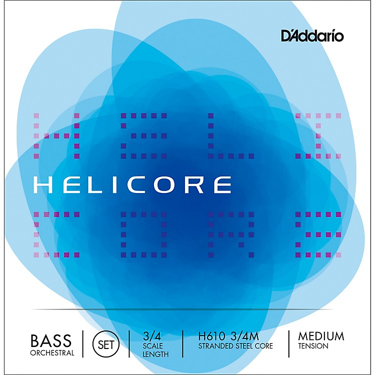 D'Addario Helicore Orchestral Series Double Bass String Set 3/4 Size Medium