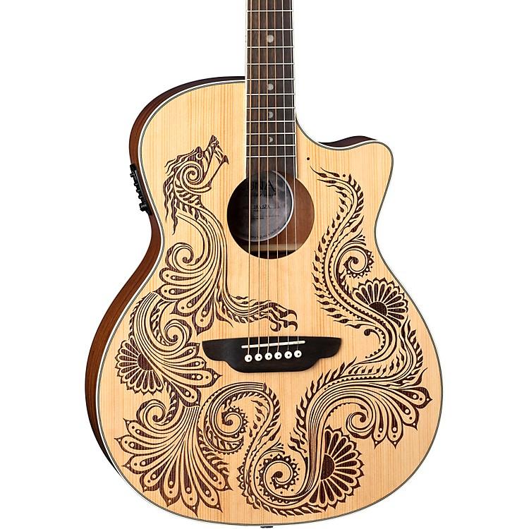 Luna GuitarsHenna Dragon Select Spruce Acoustic/Electric GuitarSatin Natural