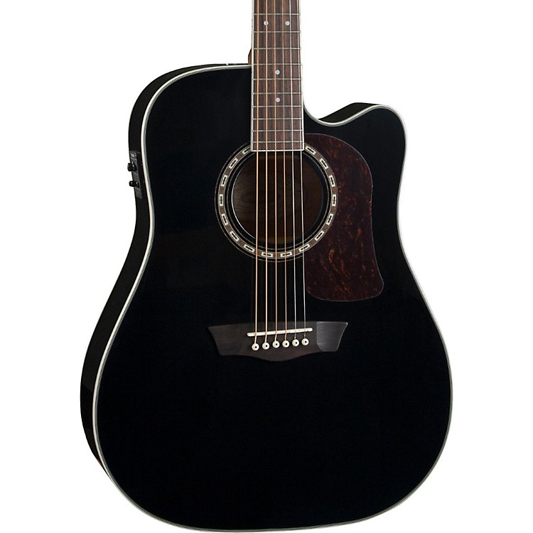 Washburn Heritage Series HD10SCE Acoustic-Electric Cutaway Dreadnought Guitar Gloss Black