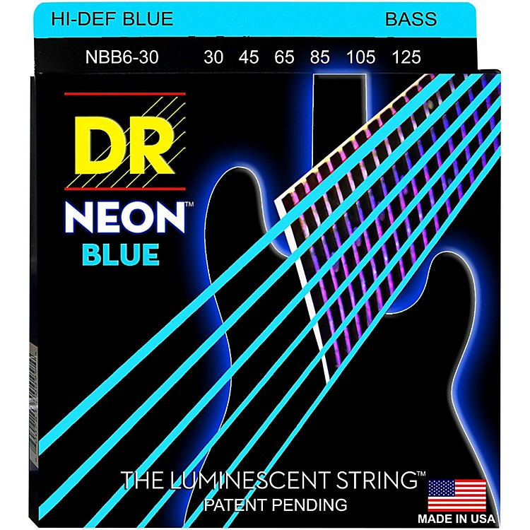 DR StringsHi-Def NEON Blue Coated 6-String Bass Strings Medium (30-125)