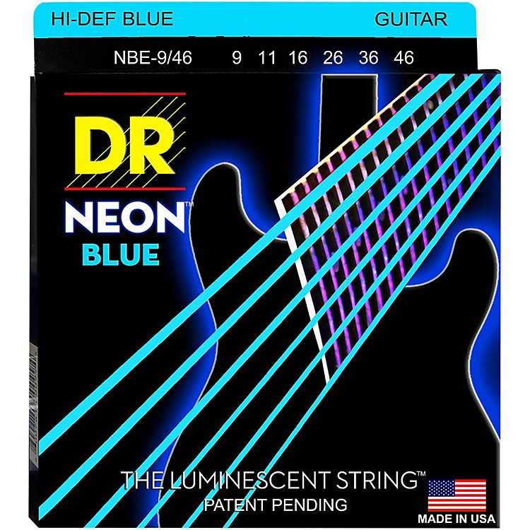 DR StringsHi-Def NEON Blue Coated Lite-Heavy (9-46) Electric Guitar Strings