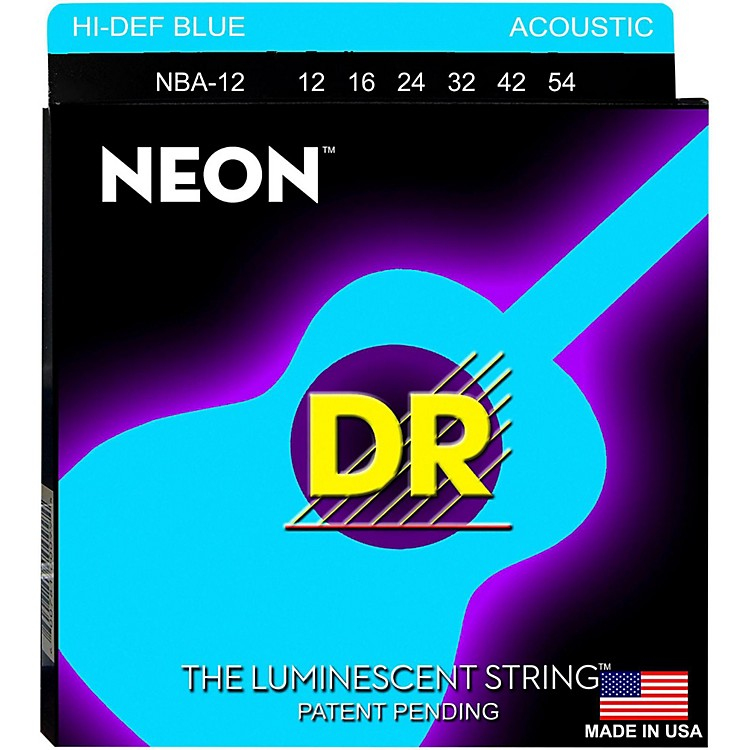 DR StringsHi-Def NEON Blue Coated Medium Acoustic Guitar Strings (12-54)