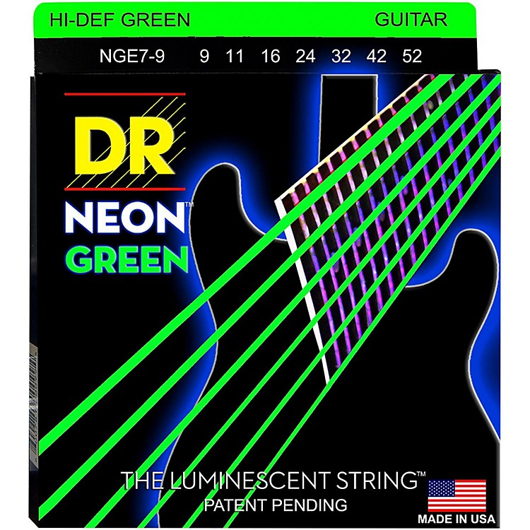 DR StringsHi-Def NEON Green Coated Lite 7-String Electric Guitar Strings (9-52)