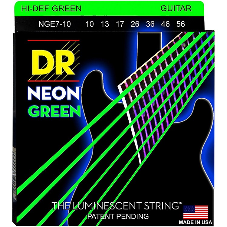 DR StringsHi-Def NEON Green Coated Medium 7-String Electric Guitar Strings (10-56)Neon Green