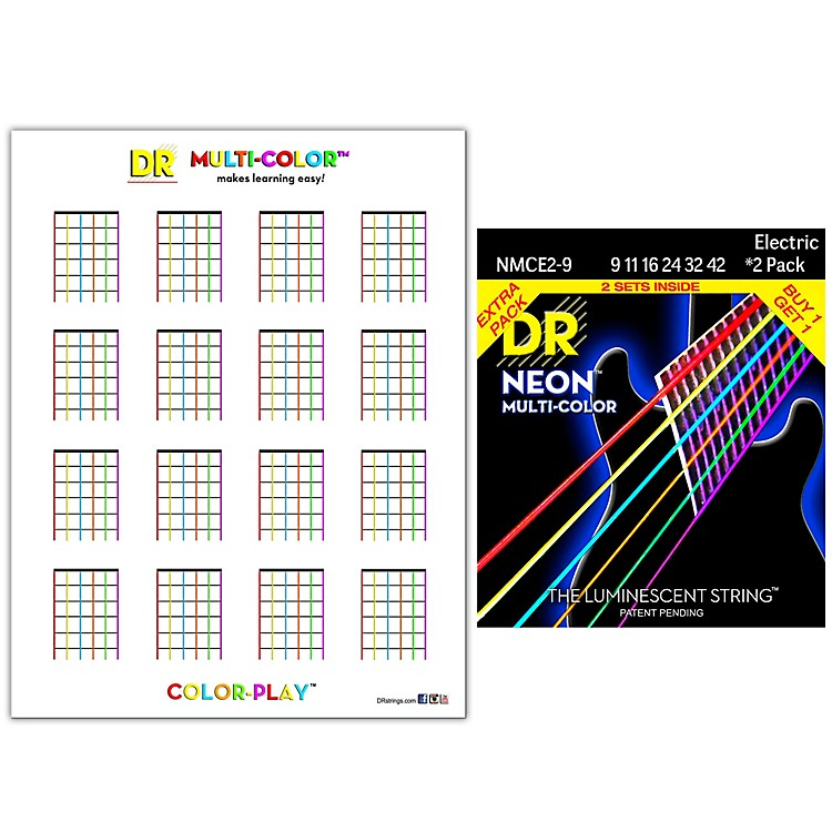 DR Strings Hi-Def NEON Light Electric String 2-Pack with Multi-Color Chord Chart Sheet .009-.042 Light