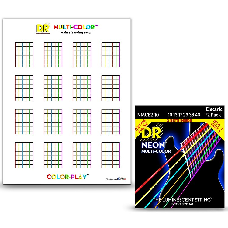 DR StringsHi-Def NEON Medium Electric String 2-Pack with Multi-Color Chord Chart Sheet
