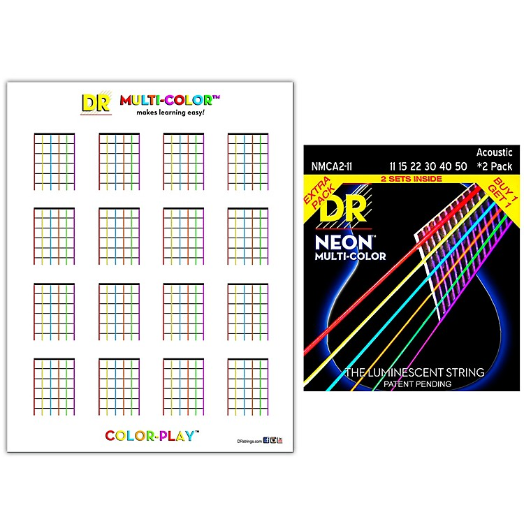 DR StringsHi-Def NEON Medium Light Acoustic String 2-Pack with Multi-Color Chord Chart Sheet