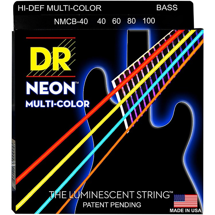 DR StringsHi-Def NEON Multi-Color Coated 4-String Bass Strings Lite (40-100)